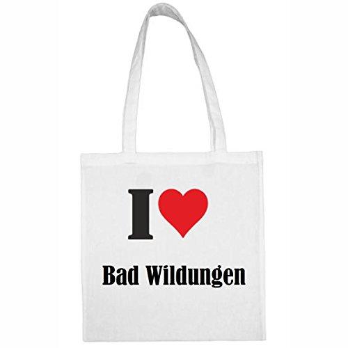 Tasche I Love Bad Wildungen Größe 38x42 Farbe Weiss Druck Schwarz