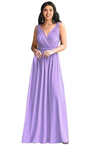 KOH KOH Womens Long Sleeveless Flowy Bridesmaids Cocktail Party Evening Formal Sexy Summer Wedding Guest Ball Prom Gown Gowns Maxi Dress Dresses, Lilac Light Purple M 8-10
