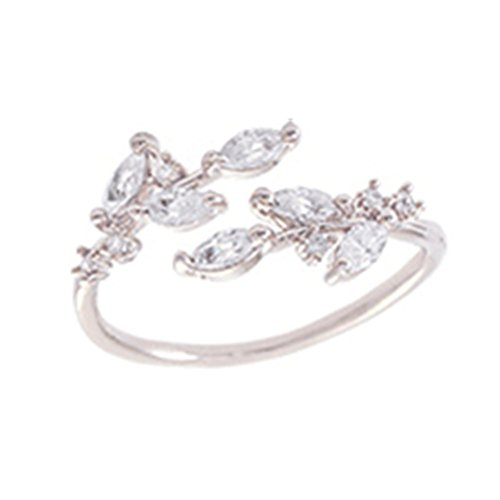 Sterling Silver Plated & 18K Gold plated Cubic Zirconia tree branch leaves joint Band Ring,adjustable (White)