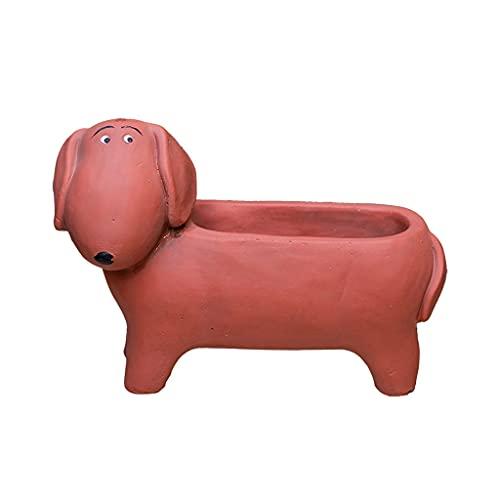 TBUDAR Creative Animal Cement Flower Pot con Agujero de Drenaje Dachshund Dog Pot Pot Suculento Cactus Flower Pot Oficina Jardín Decoración