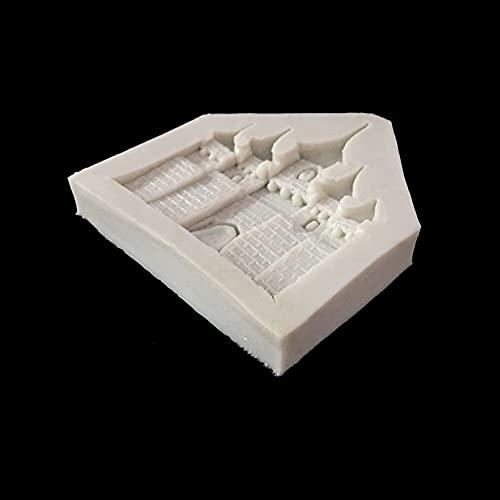 ZPZZPY Molde de Silicona de Castillo de Cuento de Hadas,Herramienta de decoración de Fondant para Pasteles,Herramienta para Hornear Dulces de Chocolate