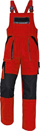 Stenso MAX - Herren Praktisch Arbeitslatzhose Baumwolle Rot/Schwarz 60