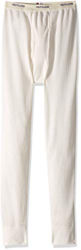 Fruit of the Loom Men's Classics Midweight Waffle Thermal Underwear Bottoms, Natural, Large