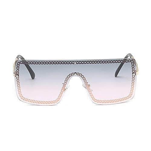 HAIGAFEW Gafas De Sol De Gran Tamaño para Mujer Gafas De Sol Cuadradas con Una Lente Gafas De Sol para Hombre Montura De Aluminio Verde Y Rosa Proteger Los Ojos-la licenciatura