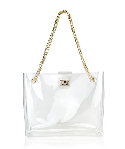 Multifunction Clear Chain Tote with Turn Lock Womens Shoulder Handbag (Clear)
