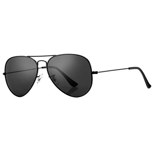 Pro Acme Classic Polarized Aviator Sunglasses for Men and Women UV400 Protection (Black Frame/Black Lens)