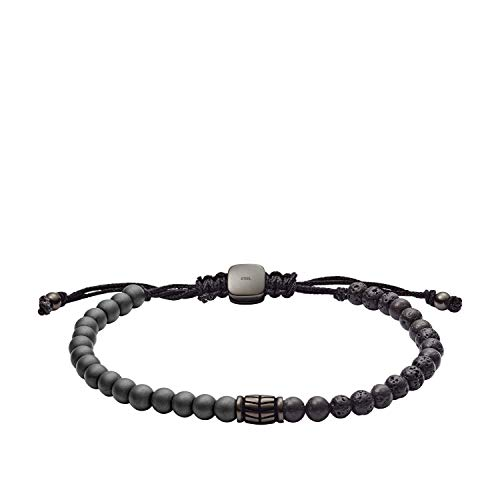 Fossil Men's Hematite and Black Lava Stone Bracelet, One Size