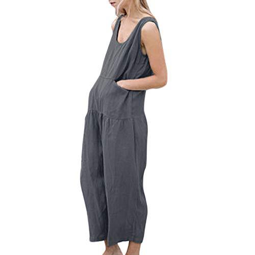 Luckhome dames korte O-hals elegante jumpsuit overall broekpak Playsuit Romper nonchalante mouwloze rug zomer katoen brede been mouwloze broek met brede Und(L3)