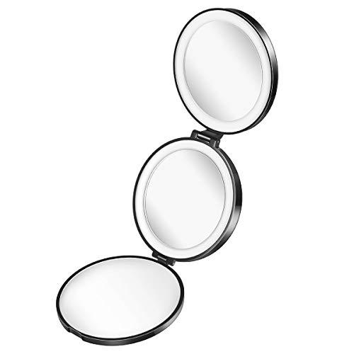Lurrose - Espejos LED compactos portátiles Tri-fold Espejo de bolsillo redondo con aumento 1x/5x/10x