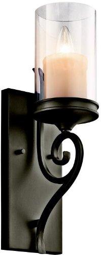 Kichler 45362SWZ, Lara Candle Glass Wall Sconce Lighting, 1 Light, 60 Total Watts, Shadow Bronze