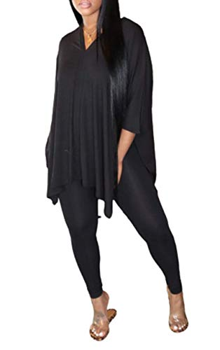 2 Pieces Outfits Tunic Top and Leggings Set - Women V Neck Batwing Sleeve Top and Skinny Pants Black