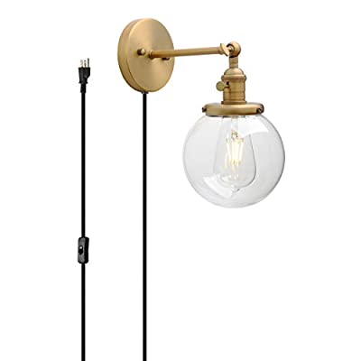 """Permo 1-Light Plug in On/Off Switch Wall Sconce with Mini 5.9"""" Round Globe Clear Glass Shade Vintage Industrial Wall lamp Light Fixture"""