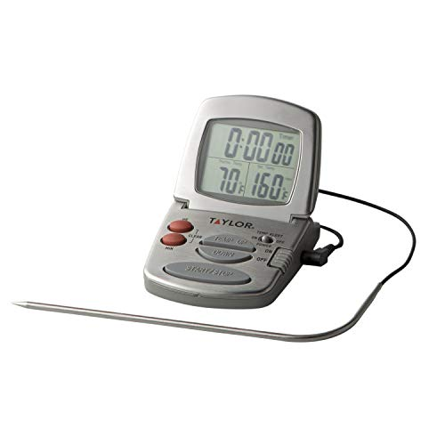 Taylor Precision Products 1478-21 Digital Cooking Thermometer with Probe and Timer, Silver