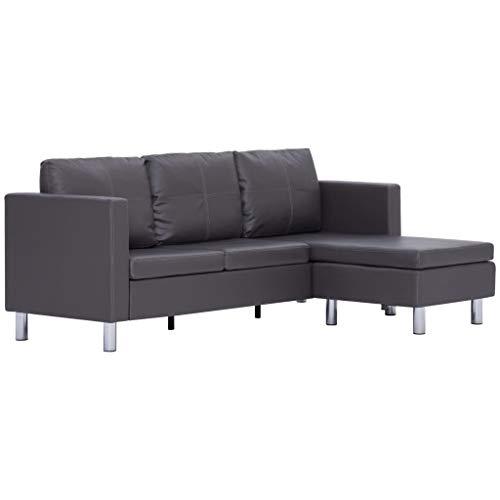 vidaXL Sofa 3-Sitzer mit Kissen L-Form Ecksofa Eckcouch Ledersofa Couch Polstersofa Wohnlandschaft Loungesofa Wohnzimmersofa Grau Kunstleder