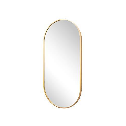 Wall mirror Espejo de baño luz nórdica para Colgar en la Pared, latón, Dorado, Espejo para baño, Ovalado, a Prueba de explosiones, Espejo de Maquillaje, para Colgar en la Pared, Espejo de Cuerpo ent