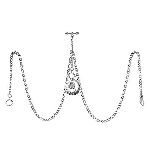 TREEWETO Taschenuhrkette mit T Bar Endstück Gesamtlänge 72cm Doppel Albert T-Bar Taschenuhr Kette mit Antiker Vierblättriger Klee-Anhänger und 3 Haken für Weste Knopfloch Silber