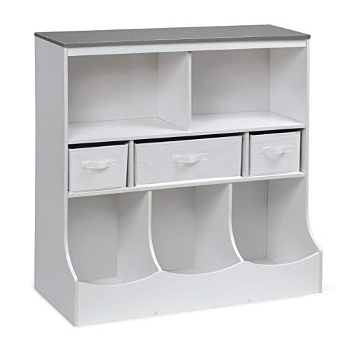 Badger Basket Combo Bin Toy Storage Unit and Book Shelf for Kids with 3 Baskets, Solid White/Woodgrain Gray
