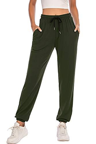 Pantalones Deportivos para Mujer para Yoga Running Fitness Jogging Danza Pijama de Interior Largos Chándal Casuale Verde Oscuro M