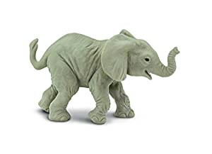 Safari Ltd Wild Safari Wildlife – African Elephant Baby – Realistic Hand Painted Toy Figurine Model – Quality Construction from Safe and BPA Free Materials – For Ages 3 and Up