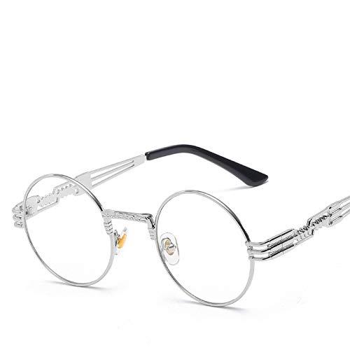 Moda Gafas De Sol Steampunk Hombre, Diseño De Marca, Gafas Redondas con Revestimiento De Cristal para Sol, Metal, Vintage, Retro, para Hombre, Silverclear