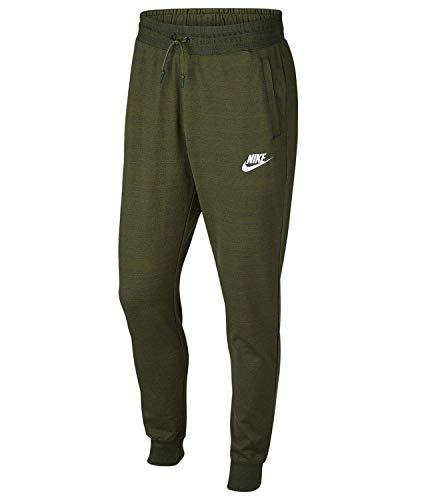 Nike Mens AV15 Jogger Knit Pants (Small, Olive Canvas Heather/White)
