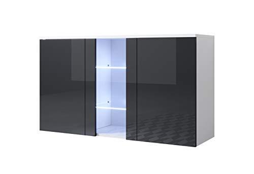 muebles bonitos Aparador Modelo Luke A1 (120x70cm) Colgante Color Blanco y Negro