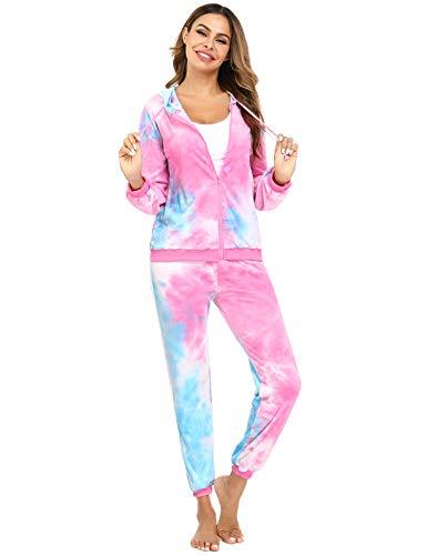 Aibrou Tie Dye Tracksuit Women Velour Sweatsuit Zip Up Hoodie and Sweatpant 2 Pieces Long Sleeve Casual Loungewear Jogging Suit Pajama Sets Pink&Blue XS