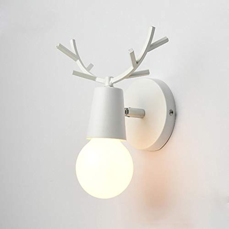 Hlzerne Wandlampe der Wand-E27 der nordischen Geweih-Wand-an der Wand befestigte Beleuchtungs-Schlafzimmer-Bett-Hintergrund-Gang-Gang-Korridor-Hotel-moderne Lampe, 4, ohne Birne