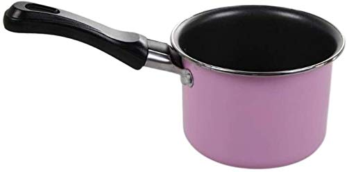 WUZHOOA Olla de Leche Milk Pot con Tapa Mini Milk Pan Pan Chocolate Sauces Cocina Pan, Picnic Portátil Cocina Cocina Cacahuete (Color : Pink)