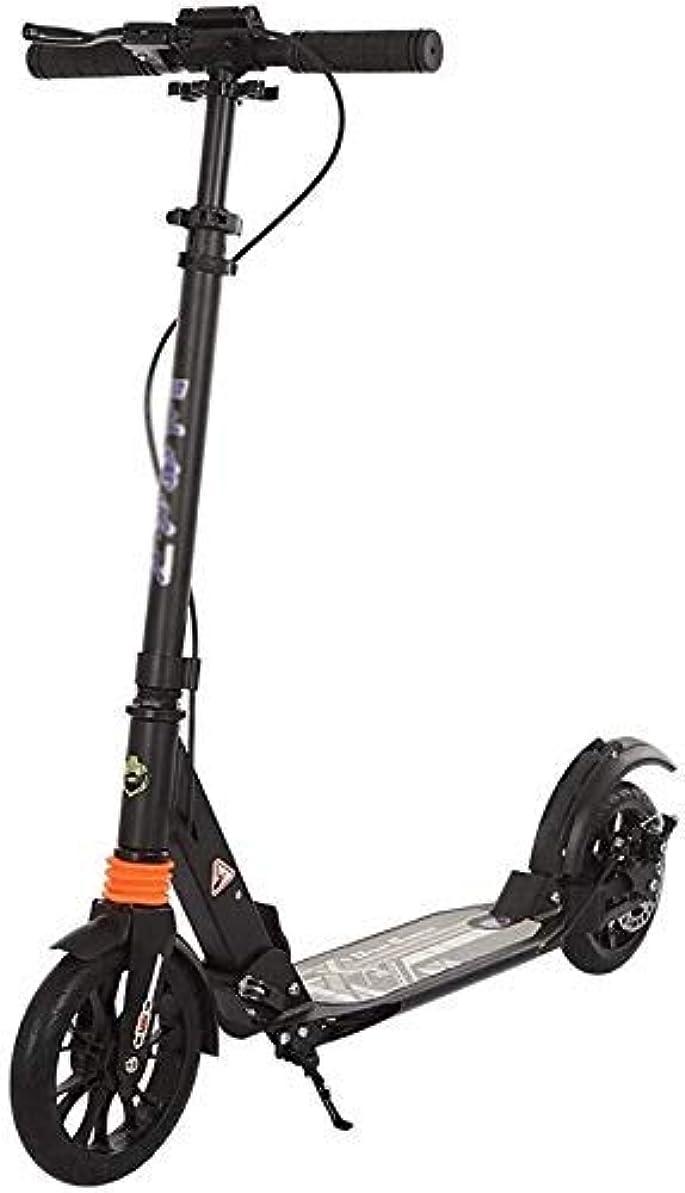 より平らなケージ静的HSBAIS 大人のスクーター、調整可能 折り畳み可能 スクーター ブレーキ付き(非電気)大人のスクーター ビッグホイール 大人向け,black_98x20x104cm