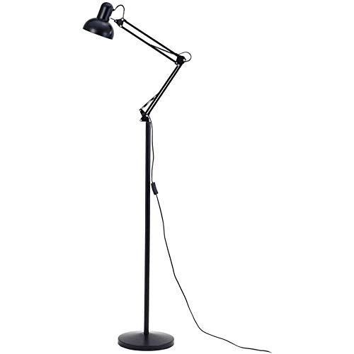 CHENJIA Hierro brazo largo lámpara de pie, metal lámpara de pie, Arquitecto Giro del brazo de pie Lámpara con Heavy Duty con base metálica, ajustable wit185cm luz de la cabeza de lectura