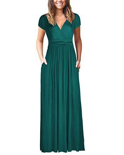 OUGES Womens Long Sleeve V-Neck Wrap Waist Maxi Dress(Green394,XL)