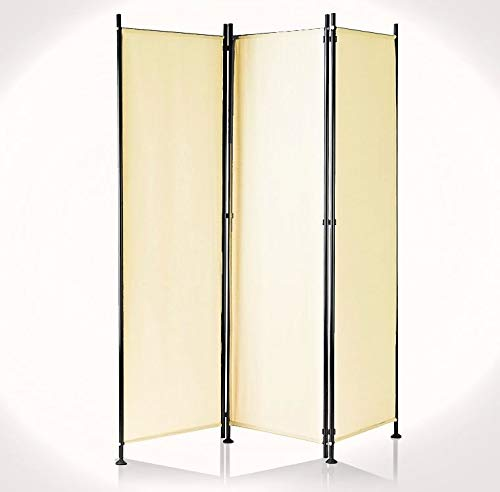 IMC Paravent 3-teilig beige Raumteiler Trennwand Sichtschutz, faltbar/flexibel verstellbar, wetterfester Polyester-Stoff, Schwarze Metallstangen