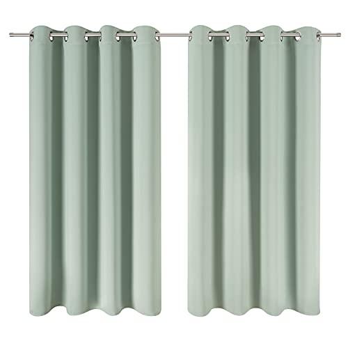 Blumtal Juego de 2 Cortinas Opacas para Interior - Cortinas Aislantes Térmicas, 140 x 180 cm, Verde Verano
