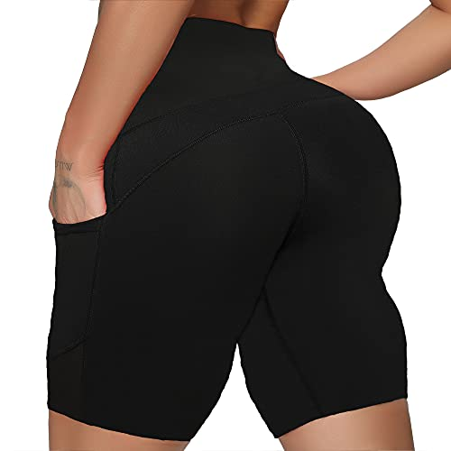 RIOJOY Women's 5' High Waist Biker Shorts with 3 Pockets Polyster Ultra Soft Fabric Tummy Control Non See-Through Yoga Running Comfortable and Stretchy Summer Workout Shorts #4-1-green-smile X-Large