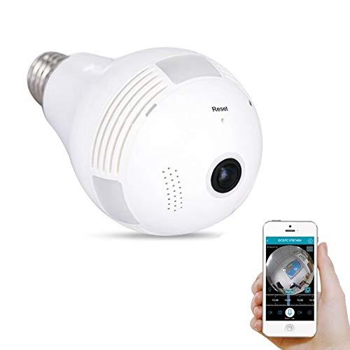 Cámara con Bombilla, 1080P HD Vigilancia WiFi Inalámbrico Infrarrojo Panorámico 360 Grados, IP Oculto Voz Bidireccional, para La Seguridad De La Oficina En El Hogar