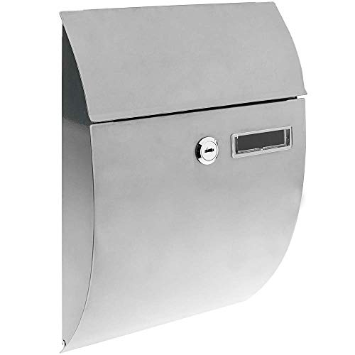 PrimeMatik - Metalen brievenbus voor brieven en post in grijs 212 x 71 x 306 mm