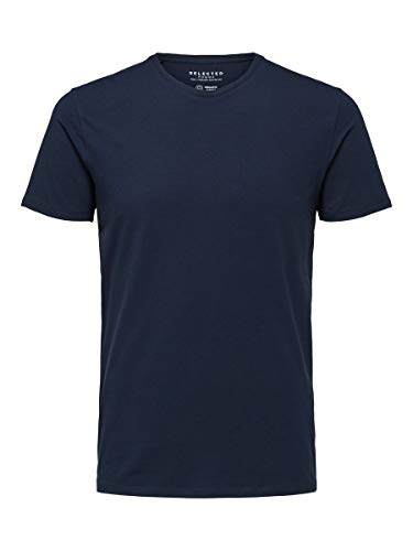 SELECTED HOMME 16073457 T-Shirt, Blu (Navy BlazerNavy Blazer), Large Uomo