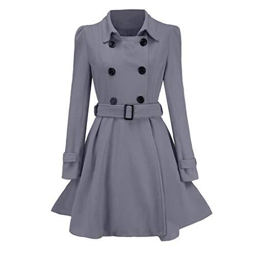 TWIFER Winter Warme Wollmantel Graben Parka Damen Jacke Mit Gürtel Mantel Outwear