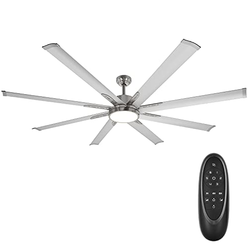 Hykolity 72 Inch Damp Rated Industrial DC Motor Ceiling Fan with LED Light, Reversible Motor and Blade, ETL Listed Indoor Ceiling Fans for Kitchen Bedroom Living Room Basement, 6-Speed Remote Control