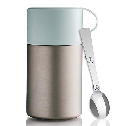 BOHORIA® WonderJar Premium Thermobehälter Lunchbox mit Löffel 600 ml | Isolierbehälter | Edelstahl | Thermo-Gefäß für Suppe, Salat, Müsli und Babynahrung | Speisebehälter Warmhaltebox Essensbox (Mint)