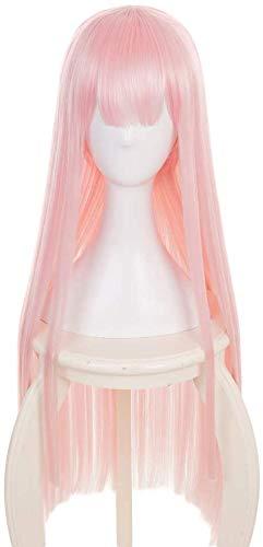 Yamia Pink Lange Cosplay Perücke für Darling in der Franxx Zero Two Perücke Halloween Kostüm Perücke mit Free Perücke Cap