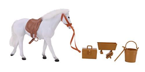Toyland Cavallo Bianco Floccato da 20 cm con Accessori - Giocattoli per Cavalli - Giocattoli agricoli