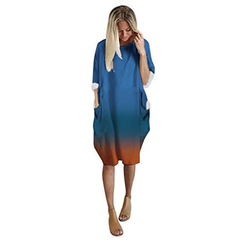 Routinfly Ropa informal, de noche, vestido de mujer, vestido de manga larga, vestido de mujer, vestido de mujer, talla grande, vestido de mujer, cuello redondo, vestido de Navidad, vestido de mujer.