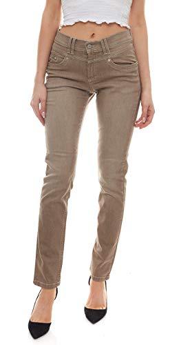 cmk Stretch-Jeans Klassische Damen Shaping-Hose mit Leichter Used-Waschung Freizeit-Hose Sommer-Hose Taupe, Größe:W36/L30