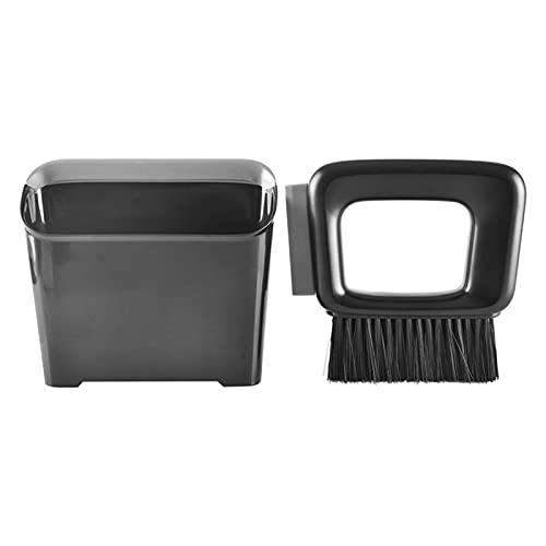 Faderr Durable Mini hogar diseño plano plástico práctico limpieza recogedor y cepillo barredora Set (negro)