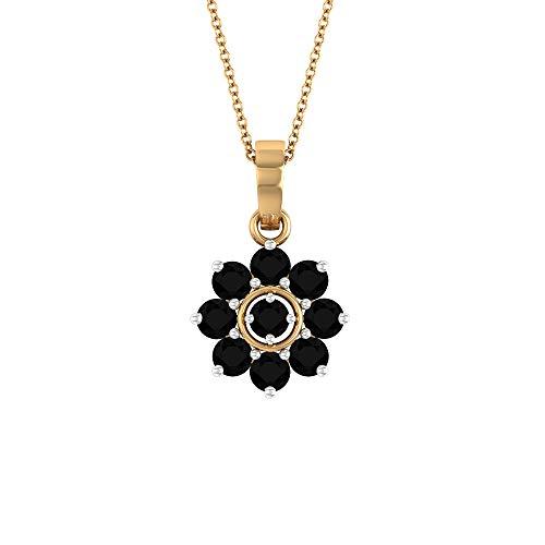 Rosec Jewels 10 quilates oro rosa redonda Black Ónix negro