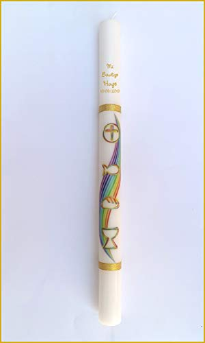 FIESTADEKOR Vela/Cirio para Bautizo de Cera Blanca Decorada con Dibujos de Ceremonia y Rematada con Cintas Doradas de Tela Metalizada. Medida 3x40cm. Color Multi (Personalizada)