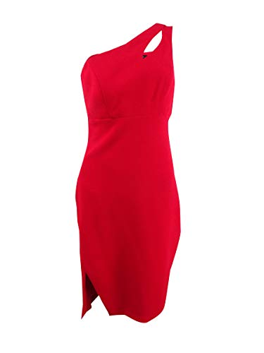 Xscape Womens Cut-Out One Shoulder Party Dress Red 2