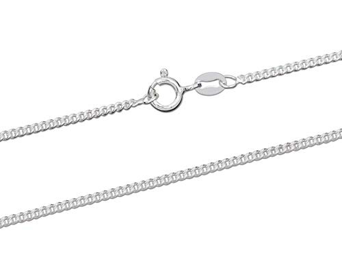 925 Sterling Silver Necklace Chain, 1.5mm Curb Jewellery Chain, 16'/40cm Length